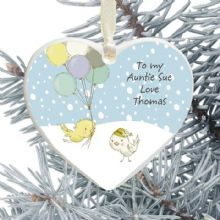 Aunty Ceramic Heart Christmas Tree Decoration - Birds and Balloons Design